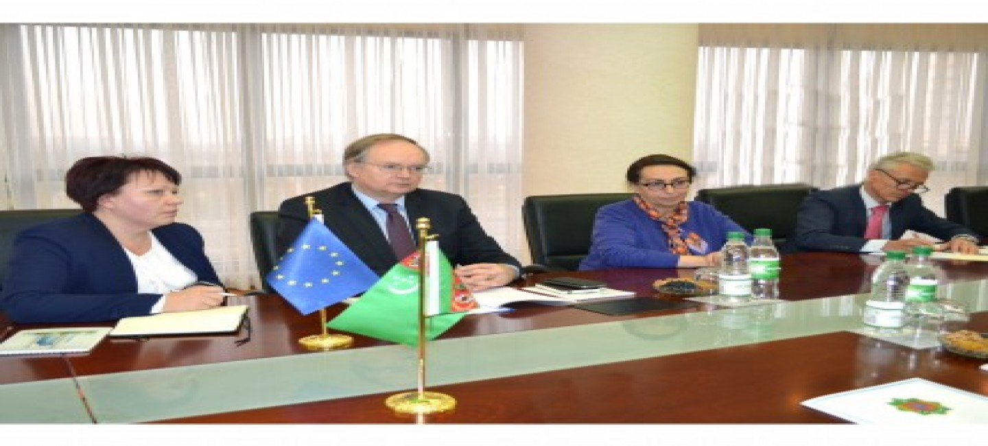 A MEETING WAS HELD AT THE MINISTRY OF FOREIGN AFFAIRS WITH THE HEAD OF THE EU DELEGATION TO TURKMENISTAN